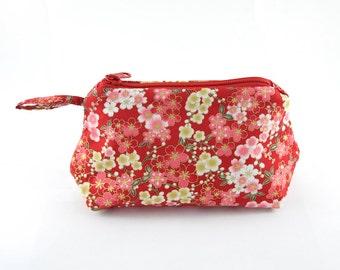 Japanese Flower Cotton Fabric Makeup Bag/ Cosmetics bag/ Wallet