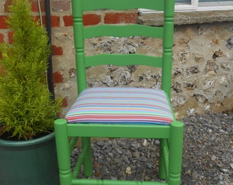 Bright Green Kitchen Chair. Hand painted and newly reupholstered.
