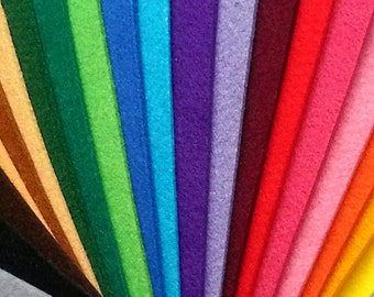 Pack Fieltro Grueso 3mm. - 21 colores (25x10 cm.)