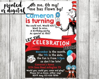 Dr Seuss Invitation, Dr Seuss 1st Birthday Invitation, Dr Seuss Birthday Invitation, Dr. Seuss First Birthday, Cat In The Hat Invitation
