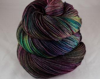 Hand Dyed Sock Yarn, hand dyed wool, variegated sock yarn, nylon sock yarn, pink, purple, green, blue, yellow, rainbow