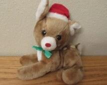 "8"" Vintage R Dakin & Co 1977 Christmas Brown Deer Fawn Stuffed Animal Plush Toy"