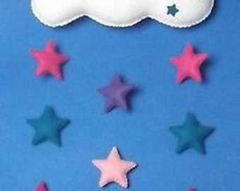 Handmade felt baby mobile, Cloud with Pink & Purple mix stars, nursery baby gift