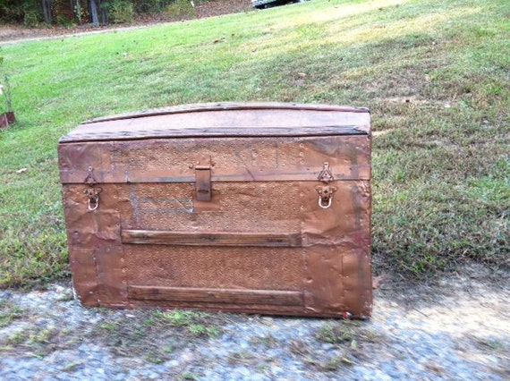 Antique Steamer Trunk Coffee Table Copper By Bluespringsorchard
