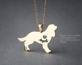 Cavalier KING CHARLES Spaniel NAME Necklace -King Charles Name Necklace - Personalised Necklace - Dog breed Necklace - Dog Necklace