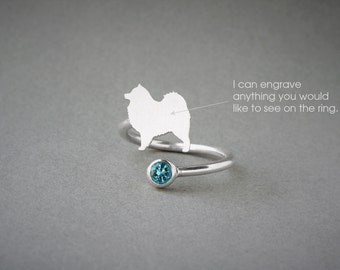 Adjustable Spiral SAMOYED BIRTHSTONE Ring / Samoyed Birthstone Ring / Birthstone Ring / Dog Ring