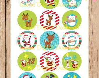 Christmas, Santa, Reindeer Bottlecap Images. 1 inch.  Instant Download. JPG File.