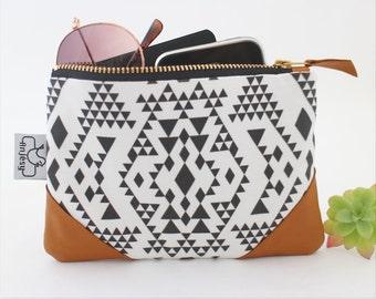 Ethnic leather coin purse,Ethnic zipper pouch,Original ANJESY Designs.