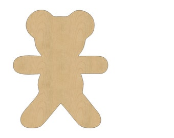 Teddy Bear Cutout Shape Laser Cut Unfinished Wood Shapes, Craft Shapes, Gift Tags, Ornaments #799 All Sizes