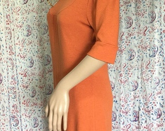 DONUTS, INC tangerine turtleneck sweater dress . Made in USA . Medium M