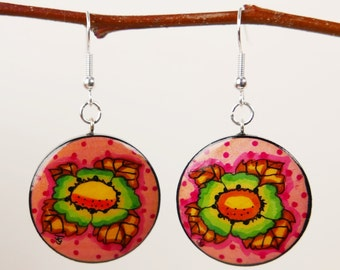 Flowers earrings, Earrings, Handpainted earrings, boho earrings,Floral earring.