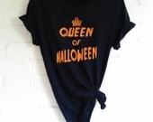 Queen of Halloween TShirt. Funny Halloween Shirt. Halloween Queen Shirt. Halloween Costume. Halloween Outfit.