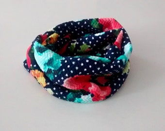 Infinity scarf - Floral turquoise and coral