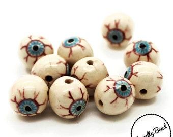 10 - Small - Eyeball - Bloodshot Eye Beads - Halloween Beads - Fall Beads - Novelty Beads - Ceramic