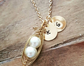 mum necklace, gold pea pod necklace, two peas in a pod, gold initial necklace, pea pod jewelry, mothers day gift, maternity jewellery,