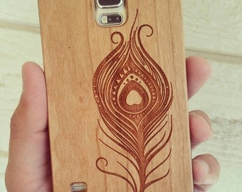 Laser Engraved Hand Drawn Peacock Feather Doodle Inspired Aztec Theme Wood phone Case for Samsung Galaxy S-055