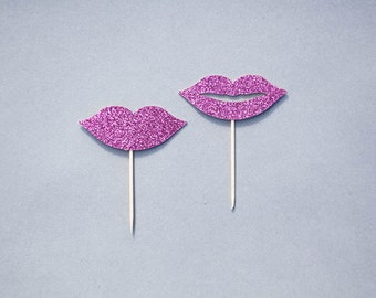 Lip Cupcake Toppers, Glitter Lip Cupcake Toppers, Lip Toppers, Valentines, Make-up party, Cosmetic Party, Glitter Lips, Set of 12