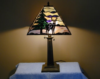 Table Lamp - Wilderness Theme - Stained Glass Lamp
