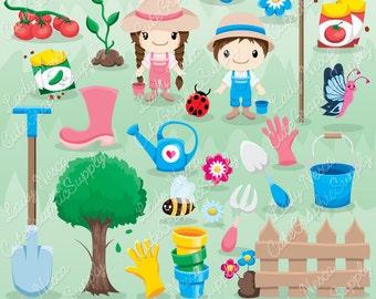 Garden clipart, spring garden, gardening, gardening clipart, flower, tree, harvest -LN0121-