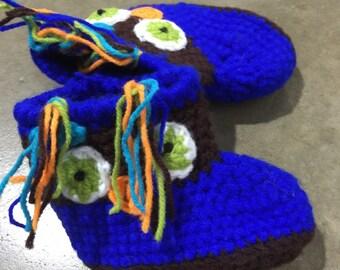 Owl crochet booties, crochet owl slippers blue slippers brown slippers