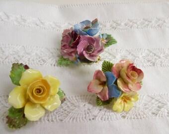 3 x Floral china brooch bargain bundle, Staffordshire - slight damage