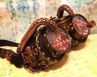 Burning Man Goggles, CTHULHU Steampunk Goggles, Mad Max Goggles, Lovecraft Goggles,CTHULHU Goggles,Tentacles, Playa Goggles,burner goggles