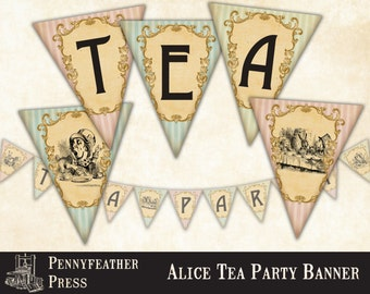 Alice In Wonderland Tea Party Printable Banners Bunting Party Decoration Supplies Instant Digital Download