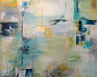contemporary abstract art with a mid-century twist - original painting