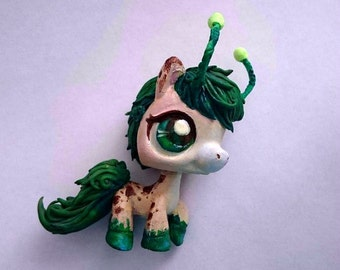 LPS horse grass spirit of the forest beige green OOAK LPS DrakoNika