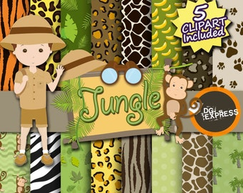 "Jungle Digital Paper + Clipart : ""Jungle Digital Paper"" -Safari Clipart, Jungle Invite, Animal Clipart, Animal print, Binoculars, Leaves"