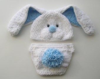 Crochet Easter Bunny newborn hat with floppy ears and diaper cover set/Bunny Hat/baby photo prop /easter bunny/bunny set /newborn photograpy