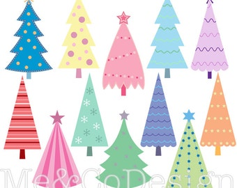 Christmas Tree Clipart, Fun Cute Clipart, colorful Instant Download, Personal and Commercial Use Clipart, Digital Clip Art