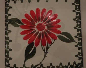 Zanolli Handpainted Ceramic Trivet Red Zinnia or Gerber Daisy with Green Leaves/Trim Made in Italy