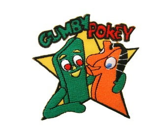 Gumby and Pokey Cartoon Embroidered Applique Iron on Patch