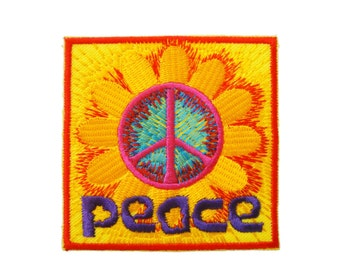 Peace Sign Symbol Flower Embroidered Applique Iron on Patch