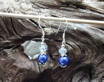 Blue Faux Pearl Drop Earrings (Sterling Silver)