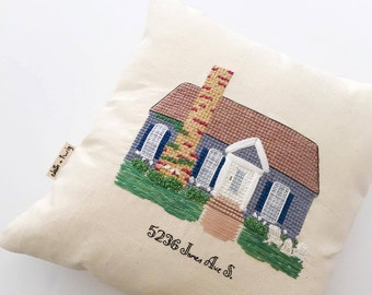 Home pillow | Custom Pillow | Custom Cross Stitch | Cross Stitch Pillow | Home Decor | Housewarming Gift | Embroidered Pillow | Personalized