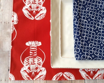 Lobster Placemats, Indoor/Outdoor Placemats, Red Beach Placemats