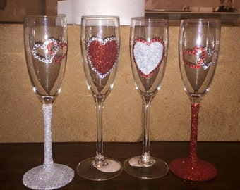 Pair of Mix and match Valentines champagne glasses