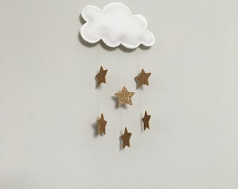 Felt Cloud and Gold Glitter Star Wall Hanging or Mobile