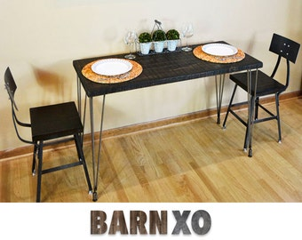 "Wood Dining Table with reclaimed wood top and hairpin legs with leveling feet - 1.65"" Thick"