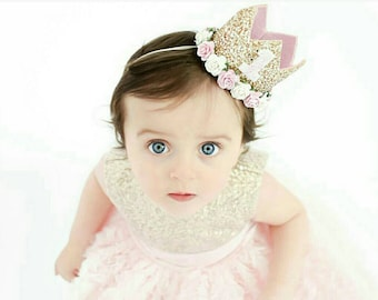 Ready stock - First Birthday Crown | 1st Birthday Girl Outfit for Cake Smash | Baby Girl First Birthday Outfit | 1st Birthday Hat | pink