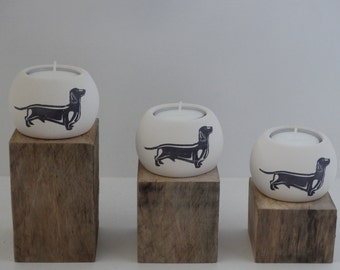 Sausage Dog 3 Piece Tealight Holder Set