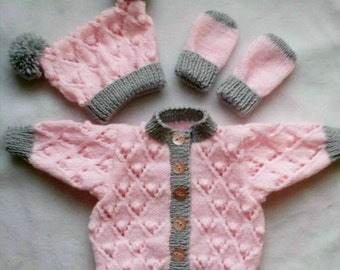 Hand knitted  cardigan hat and mittens set, Baby girl,  pink and silver 0-3, 3-6, 6-12  months, Baby shower, Baby gift, handknitted baby