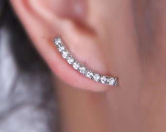 Arc Earrings, CZ Diamond Earrings