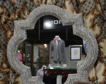 Rhinestone Wall Mirror oval mirror / 21 x 31 rhinestone mirror / wall