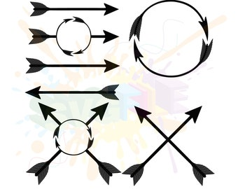 Arrow SVG Bundle for Cutting Monogram Cricut Frame Designs - SVG Files for Silhouette - Instant Download