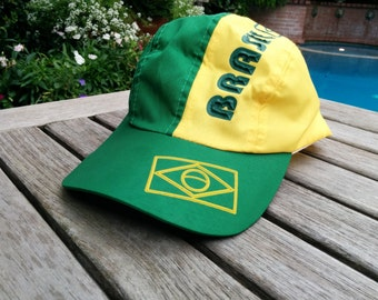 Cycling Cap/Brasil Cycling Cap/Polyester Cycling Cap/Yellow and Green Cycling Cap/Authentic Brasil/Brasil Flag/Velcro Back/*FREE GIFT WRAP*