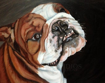 Bulldog oil painting pet portrait archival giclee print signed by artist Jessie Perkins