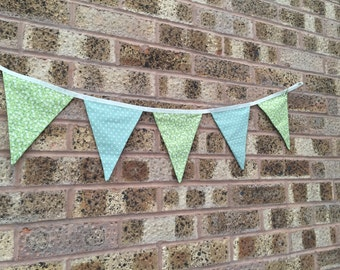 Handmade Bunting Green Fabric, Floral & Spotty, 7 Flags Double Sided